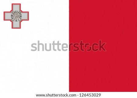 Malta flag drawing by pastel on charcoal paper - stock photo