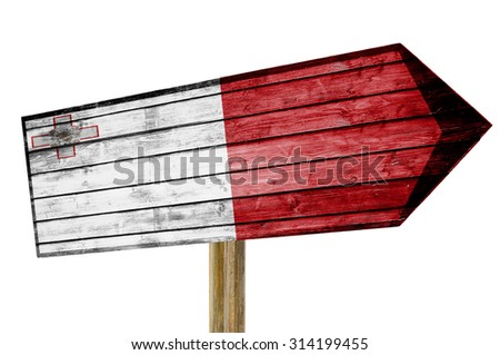 Malta Flag wooden sign isolated on white