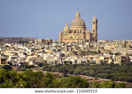 Malta - Gozo Island -Church of Saint John the Baptist, Xewkija - stock photo