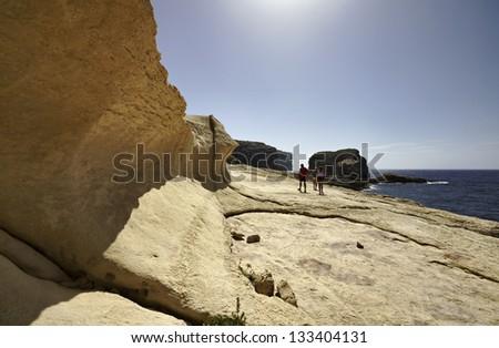 Malta Island, Gozo, Dweira, view of the rocky coastline near the Azure Window Rock - stock photo