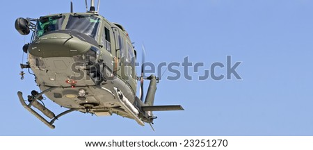 MALTA - OCTOBER 05 2008 - Military Huey UH1-N helicopter rescue - stock photo