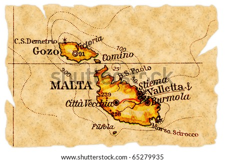 Malta on an old torn map from 1949, isolated. Part of the old map series. - stock photo