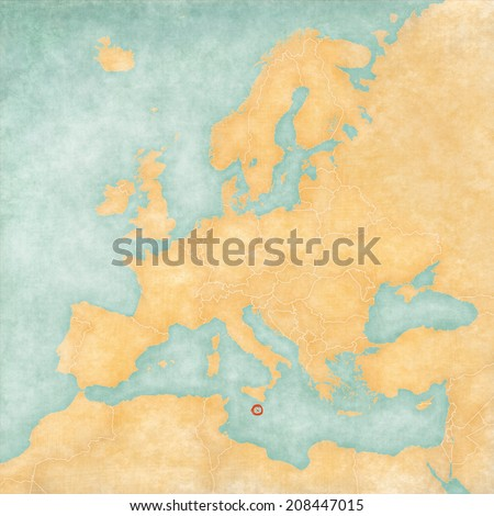 Malta on the map of Europe. The Map is in vintage summer style and sunny mood. The map has a soft grunge and vintage atmosphere, which acts as watercolor painting on old paper.  - stock photo