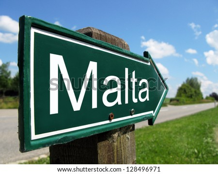 Malta signpost along a rural road