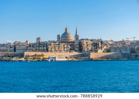 Malta Valletta panoramic view at sunset harbor front