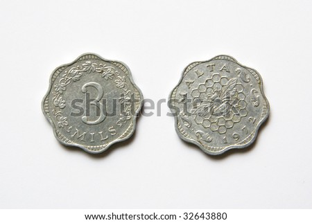 Maltese 3 mils coins (before Euro) - stock photo