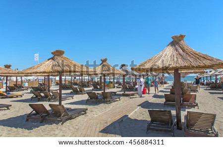 MAMAIA, CONSTANTA, ROMANIA - JULY 14, 2016. Summer recreation on the coast of Black Sea at Mamaia beach resort, Romania.