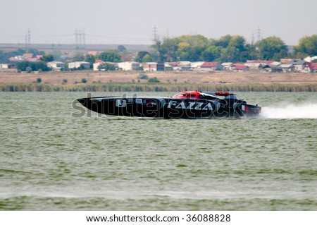 MAMAIA, ROMANIA - AUGUST 28: Boat Fazza 3 of VICTORY TEAM at official practice during the Class One Romanian Grand Prix August 28, 2009 in Mamaia, Romania.