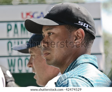 MAMARONECK, , NY - JUNE 13: Following a nine week layoff after the passing of his father, Tiger prepares to play in the 2006 US open on June 13, 2006 in Mamaroneck, NY. He missed the cut. - stock photo