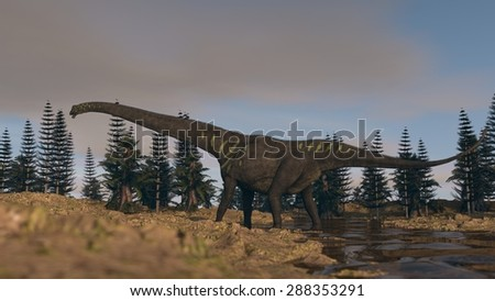 mamenchisaurus walking in spring - stock photo