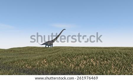mamenchisaurus walking on grass terrain - stock photo