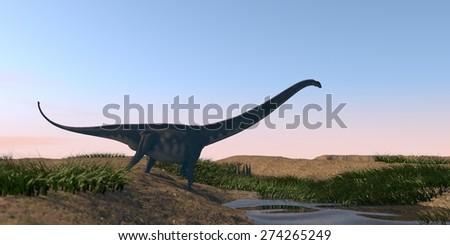 mamenchisaurus walking on watered terrain - stock photo