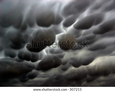 mammatus clouds - stock photo