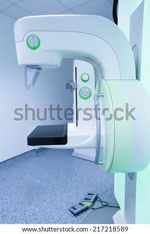 Mammography breast screening device in hospital laboratory. - stock photo