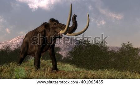 Mammoth - 3D render - stock photo