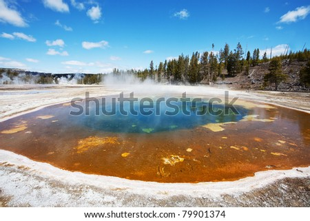 Mammoth Hot Spring - stock photo