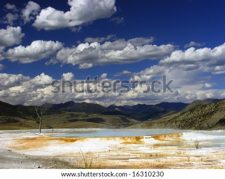 Mammoth hot springs in Yellowstone NP - stock photo