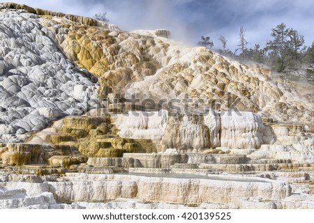 Mammoth Hot Springs, Yellowstone National Park, Wyoming - stock photo