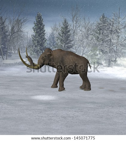 Mammoth in landscape in the ice age. - stock photo