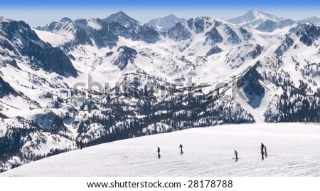 Mammoth Ski Resort Panorama Vista Eastern Sierra California - stock photo