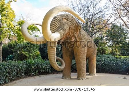 Mammoth statue in Park Ciutadela in Barcelona, Catalonia, Spain - stock photo