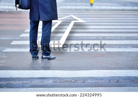 Man about to take the step, forward / making the decision - stock photo
