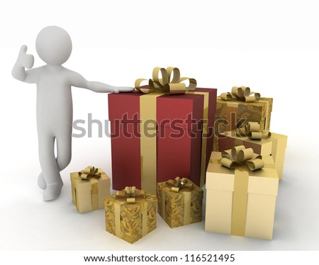 Man advertises gifts to the holiday. 3d illustration - stock photo