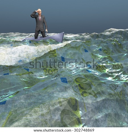 Man afloat in tiny boat on Euro currency sea under dark skies - stock photo