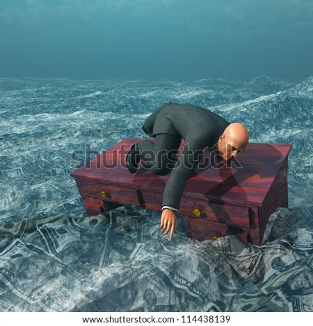 Man afloat on desk in sea of currency - stock photo