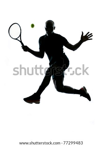 man african afro american playing tennis player forehand on studio isolated on white background - stock photo