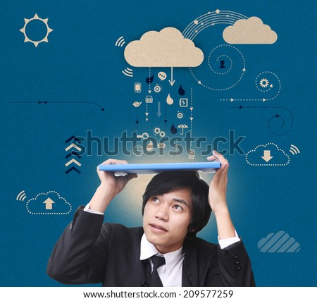 man against technology - stock photo