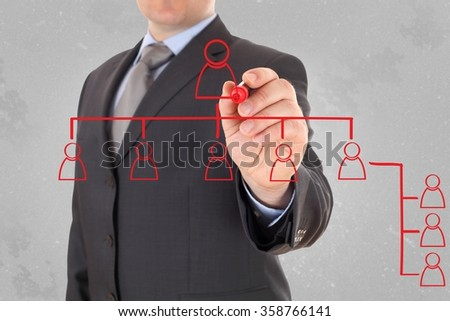man analysing social schema  - stock photo
