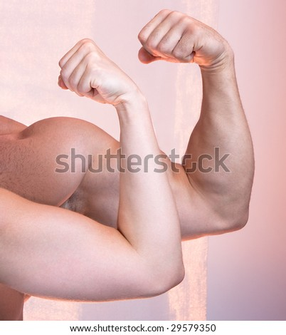 man and a woman show their biceps (only arms and body) - stock photo