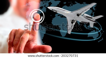 Man and airliner. Computer display, technology. - stock photo