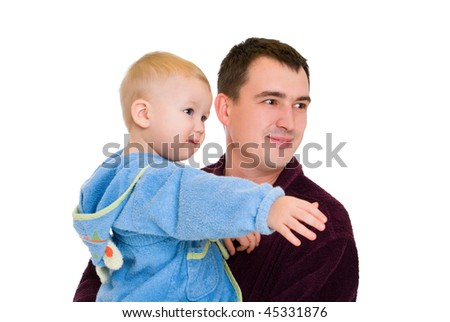 man and baby dressing gown looking leftside isolated on white - stock photo