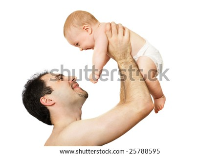 Man and baby on the white background
