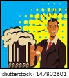 Man and Beer  - stock vector