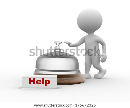 man and bell - stock photo