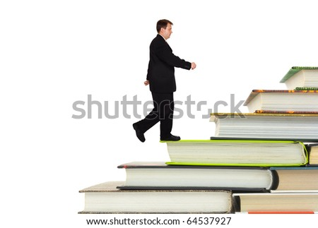 Man and book stairs isolated on white background