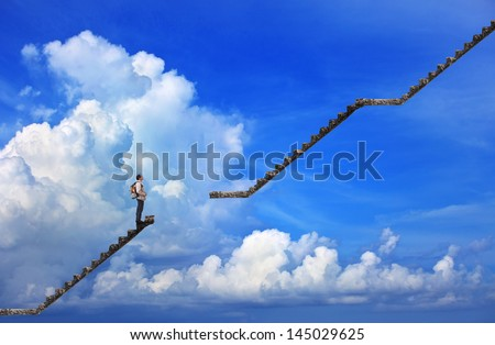 man and broken step with blue sky background use for multipurpose - stock photo