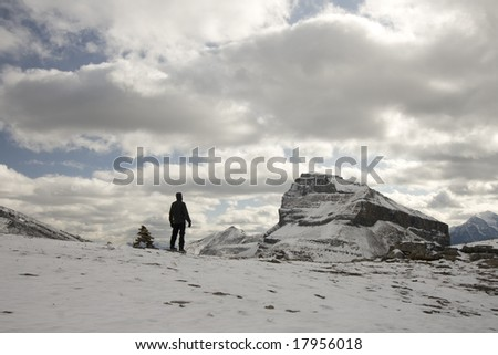 Man and Cairn Looking Forward in Winter