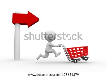 man and cart - stock photo