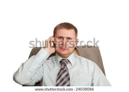 man and cell phone - stock photo
