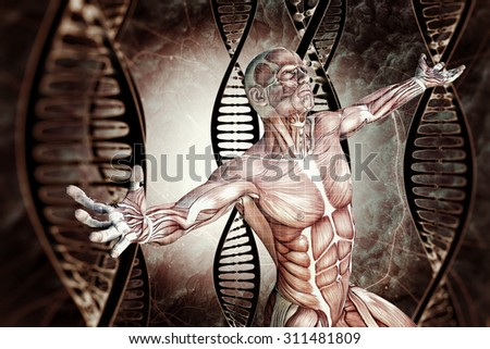 man and DNA molecules  - stock photo