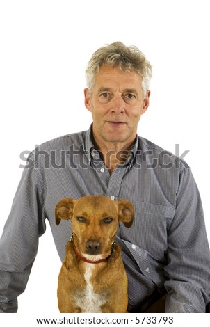 man and dog together with white background - stock photo