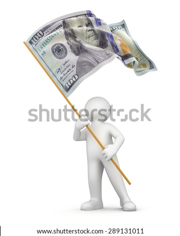 Man and flag with dollar (clipping path included)