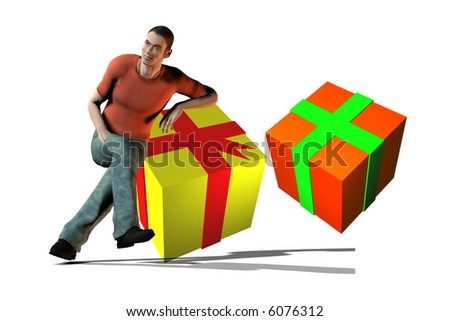 Man and gift boxes - stock photo