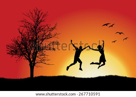 man and girl holding for hands and jumping on hill - stock photo