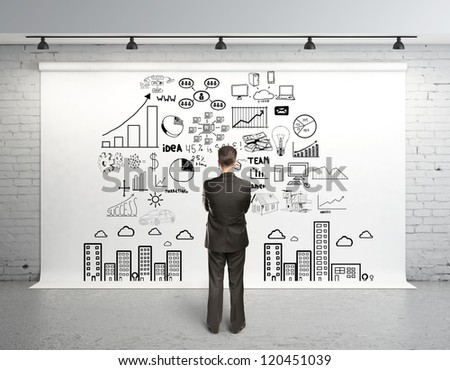 man and global concept on white backdrop - stock photo