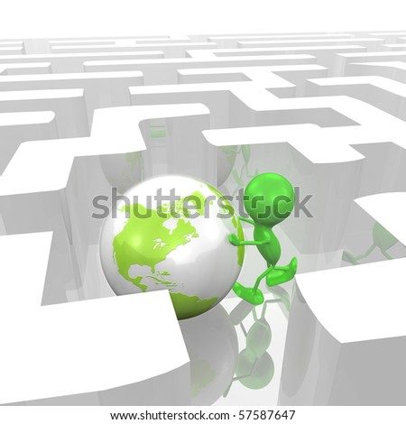 Man and Globe in a Maze - stock photo